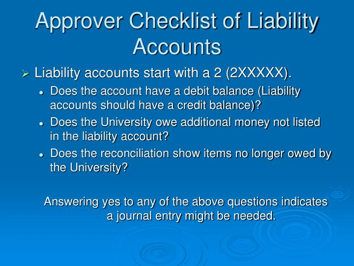Approver Checklist of Liability Accounts