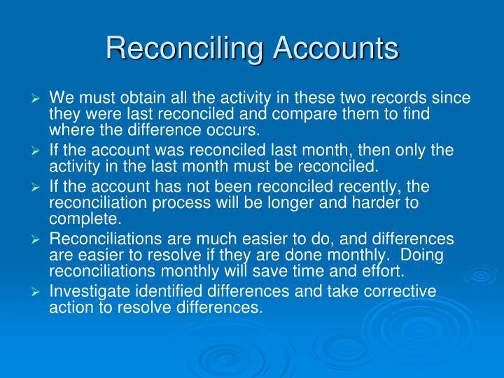 Reconciling Accounts