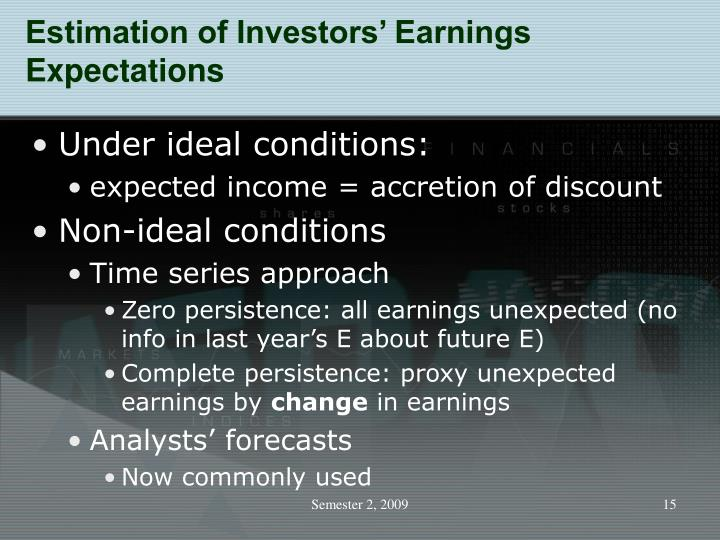 Estimation of Investors' Earnings Expectations