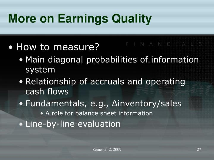 More on Earnings Quality