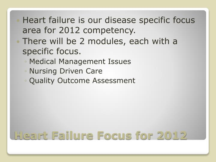 Heart failure is our disease specific focus area for 2012 competency.