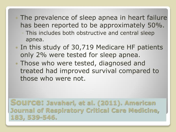 The prevalence of sleep apnea in heart failure has been reported to be approximately 50%.