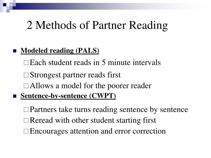 2 Methods of Partner Reading