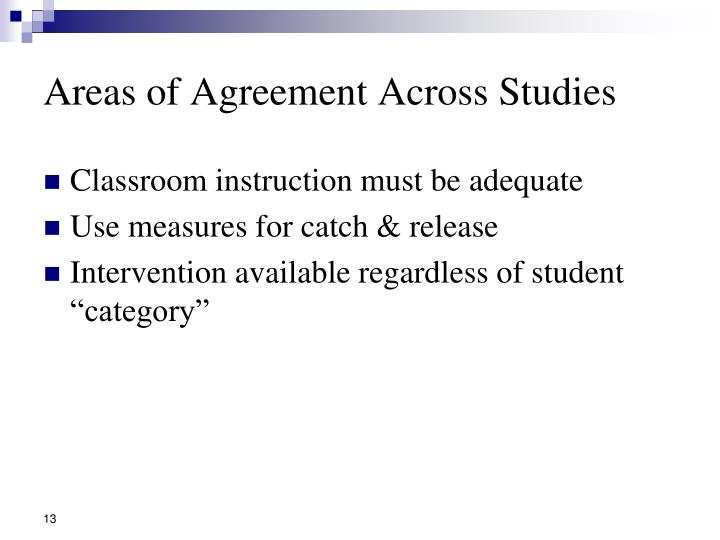 Areas of Agreement Across Studies