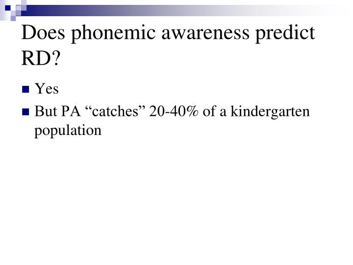 Does phonemic awareness predict RD?
