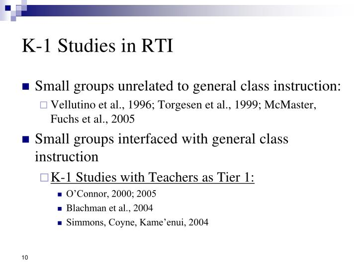 K-1 Studies in RTI
