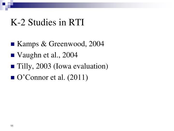 K-2 Studies in RTI