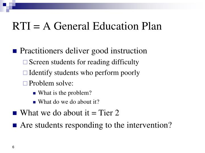 RTI = A General Education Plan