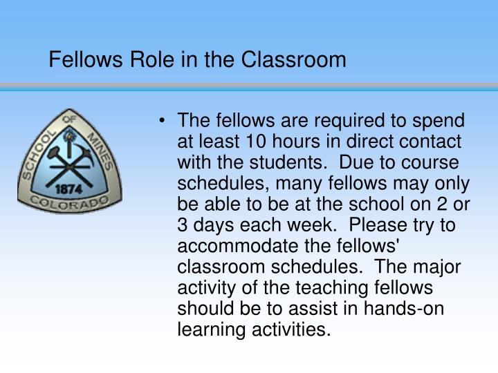 Fellows Role in the Classroom