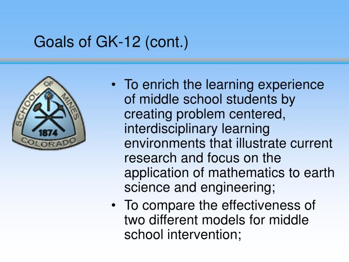 Goals of GK-12 (cont.)