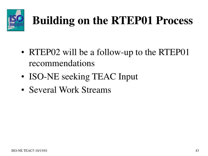 Building on the RTEP01 Process