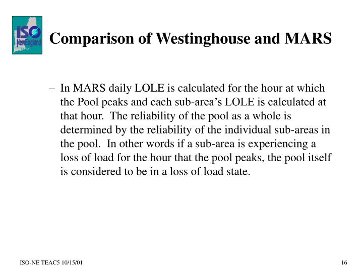 Comparison of Westinghouse and MARS