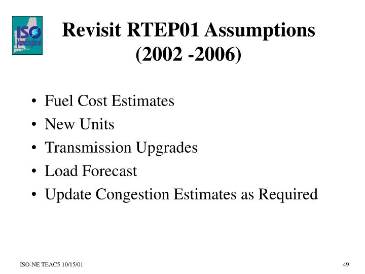 Revisit RTEP01 Assumptions