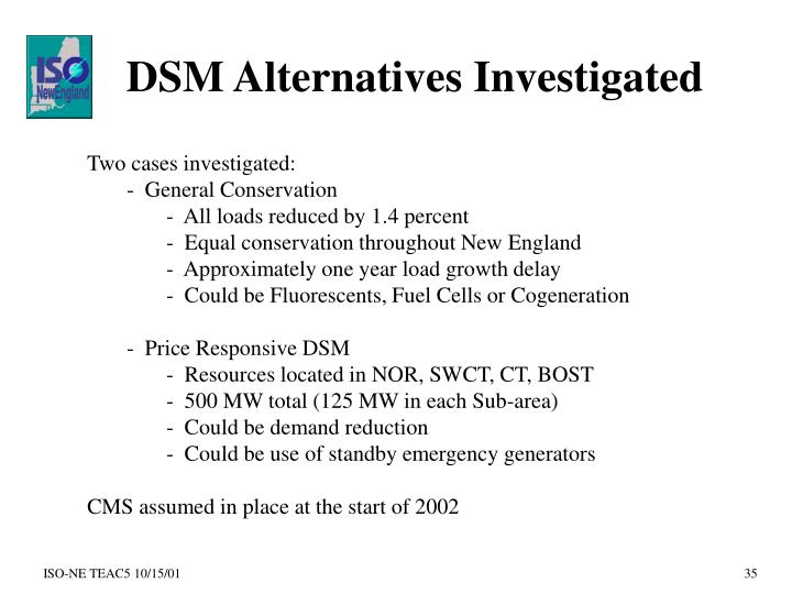 DSM Alternatives Investigated