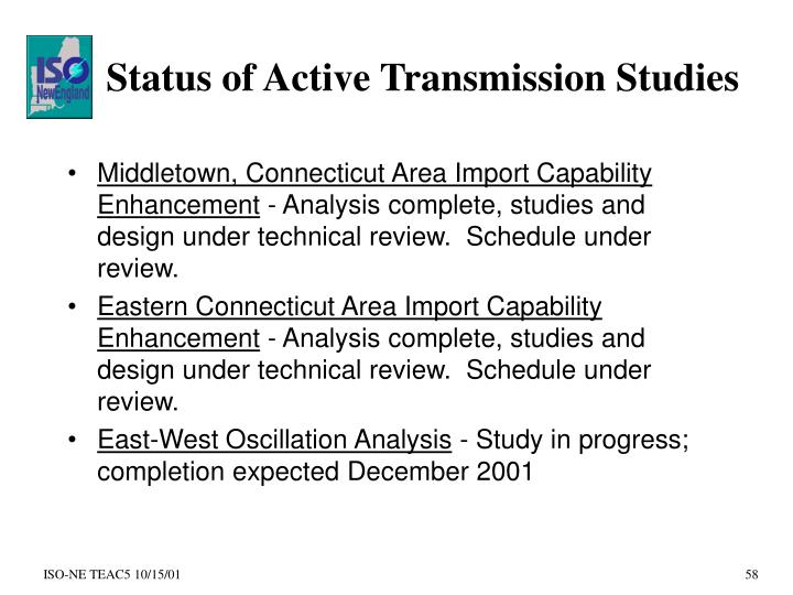 Status of Active Transmission Studies