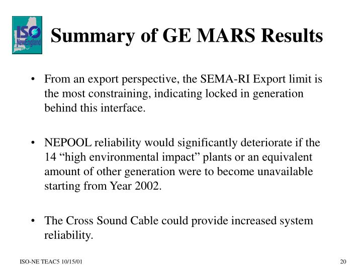 Summary of GE MARS Results