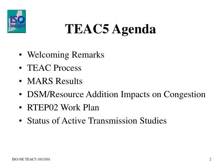 TEAC5 Agenda