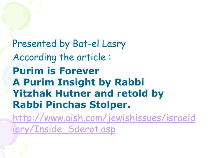 Presented by Bat-el Lasry