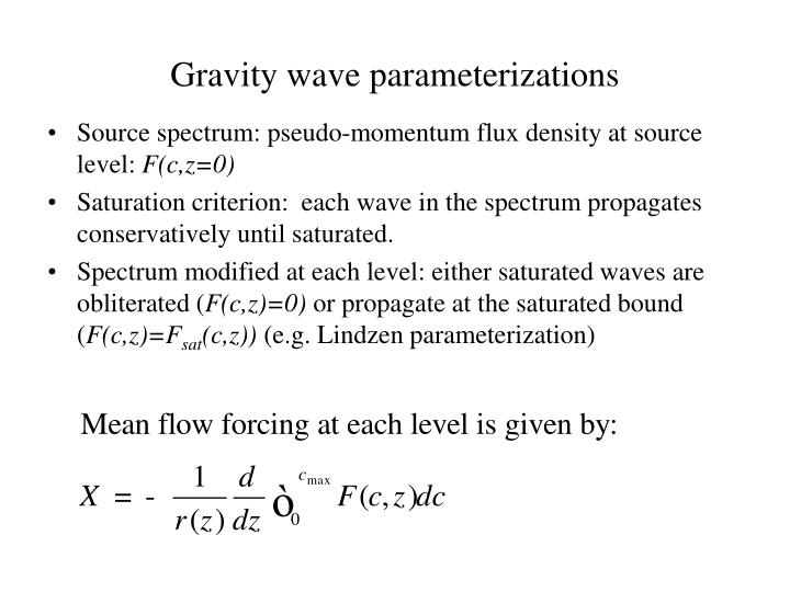 Gravity wave parameterizations