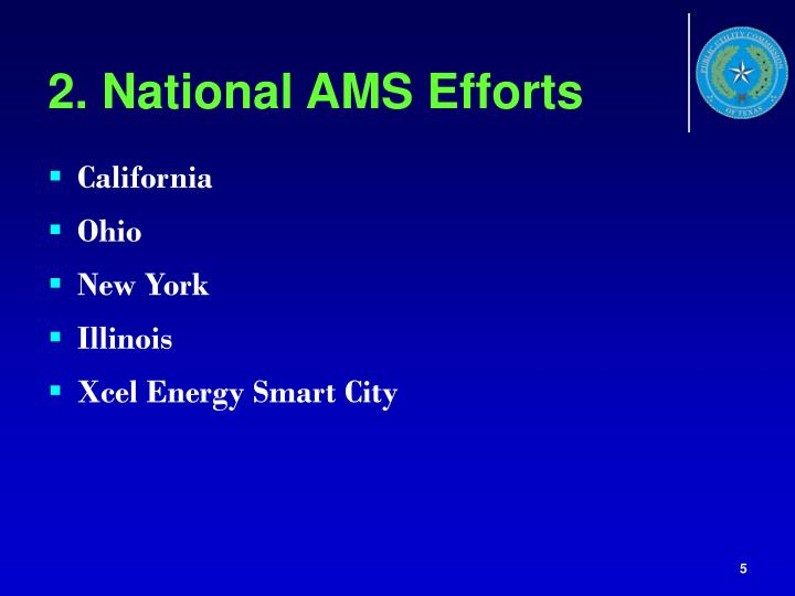 2. National AMS Efforts