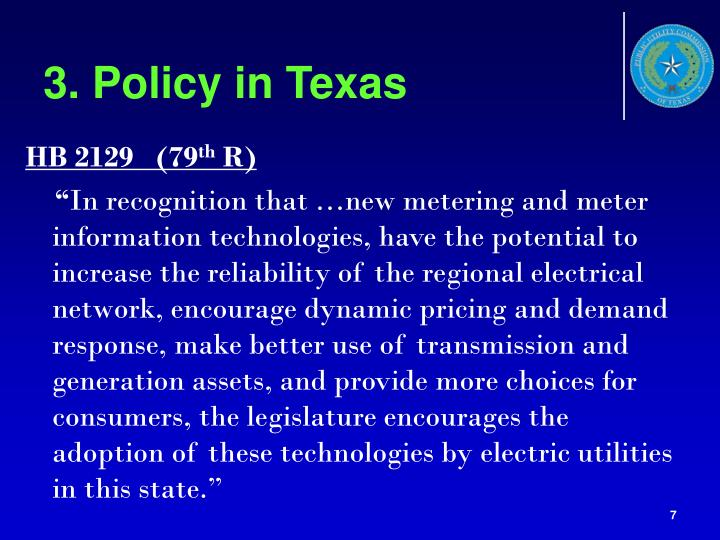 3. Policy in Texas