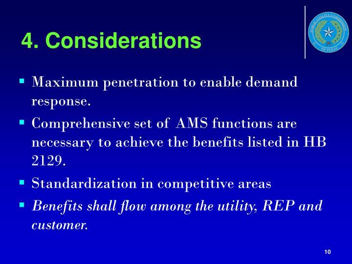 4. Considerations