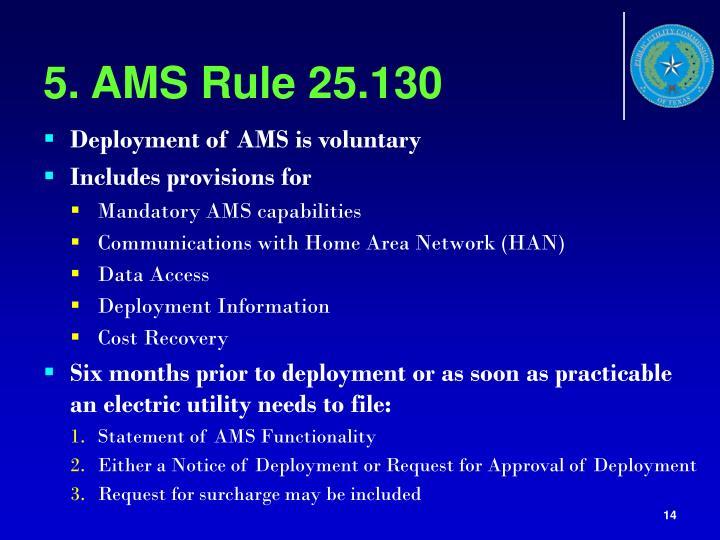 5. AMS Rule 25.130