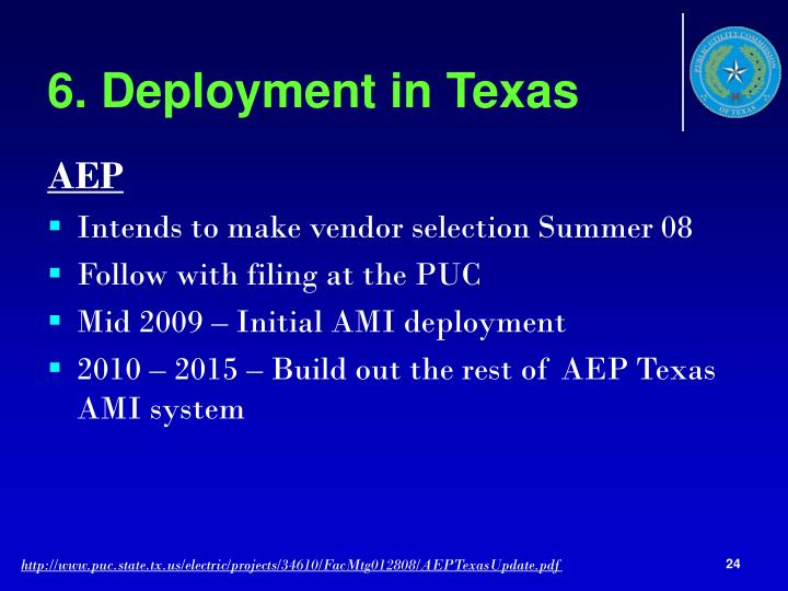 6. Deployment in Texas