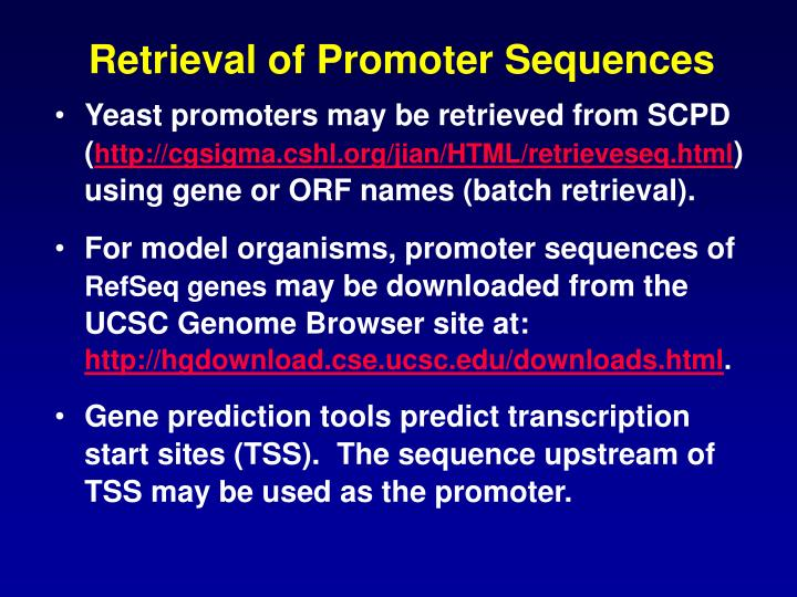 Retrieval of Promoter Sequences