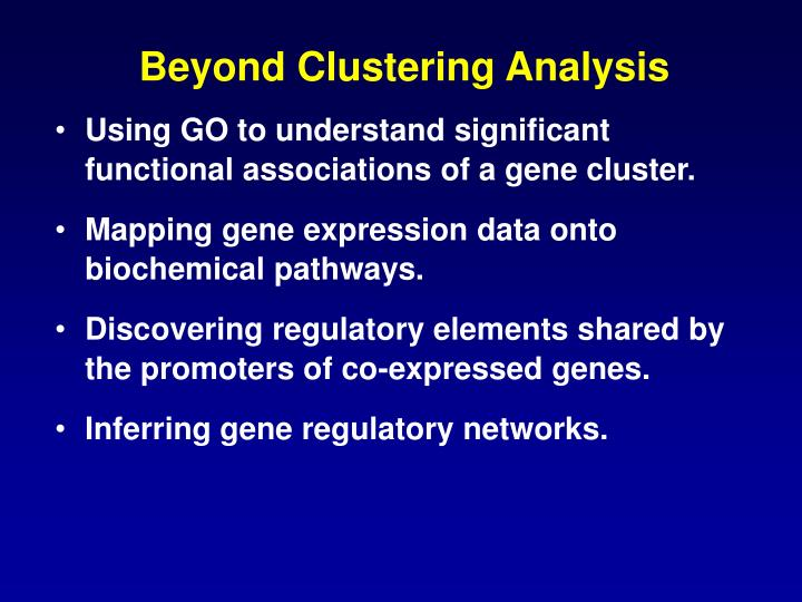 Beyond Clustering Analysis