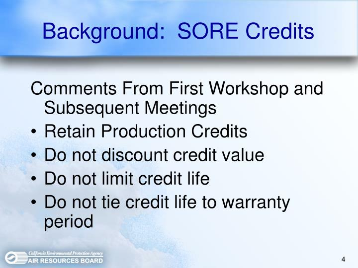 Background:  SORE Credits