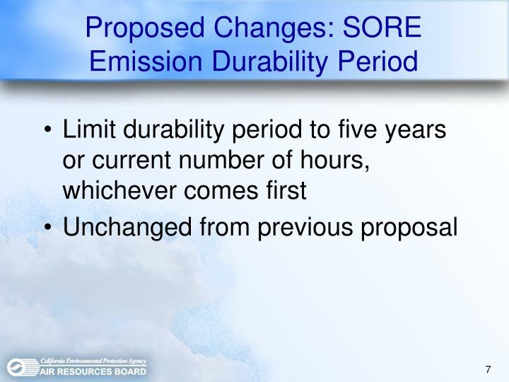 Proposed Changes: SORE Emission Durability Period