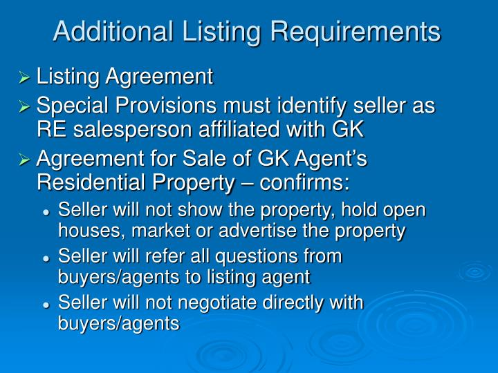 Additional Listing Requirements