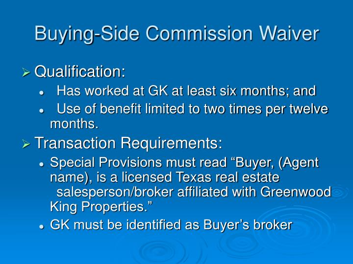 Buying-Side Commission Waiver