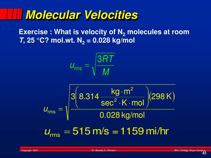 Molecular Velocities
