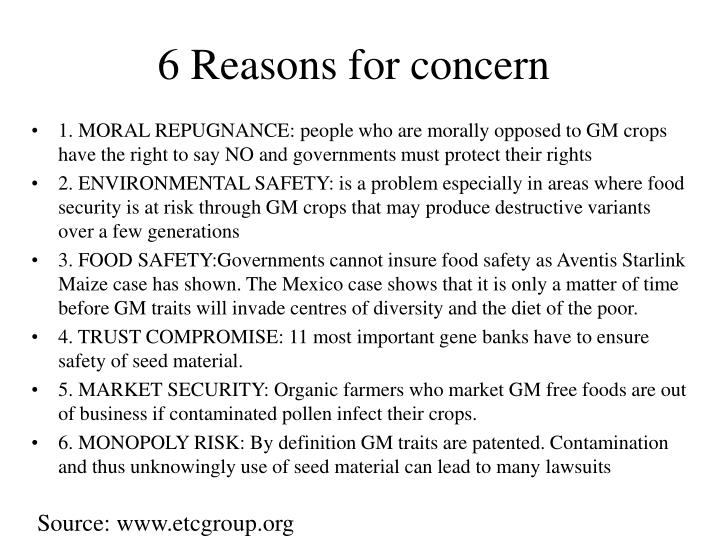 6 Reasons for concern