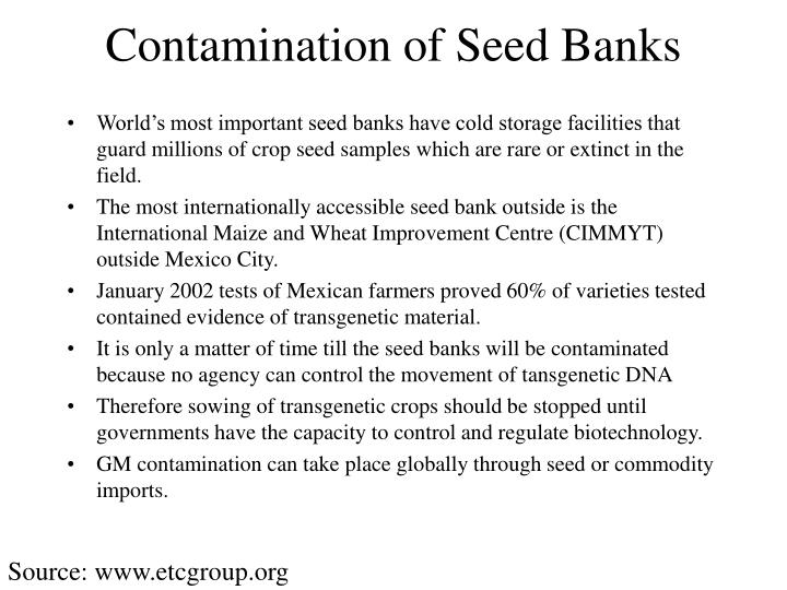 Contamination of Seed Banks