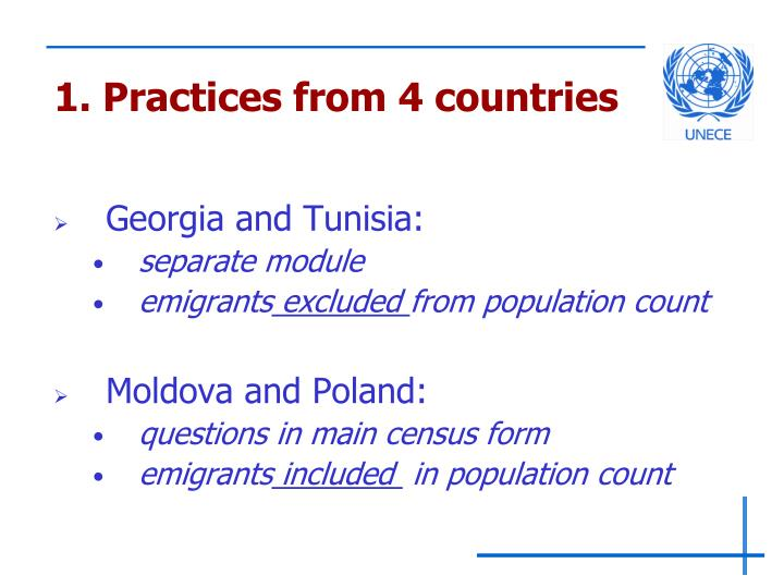 1. Practices from 4 countries