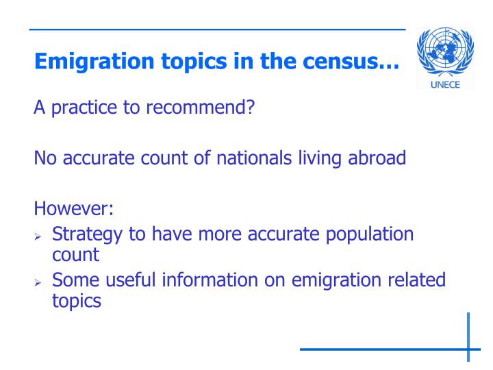 Emigration topics in the census…