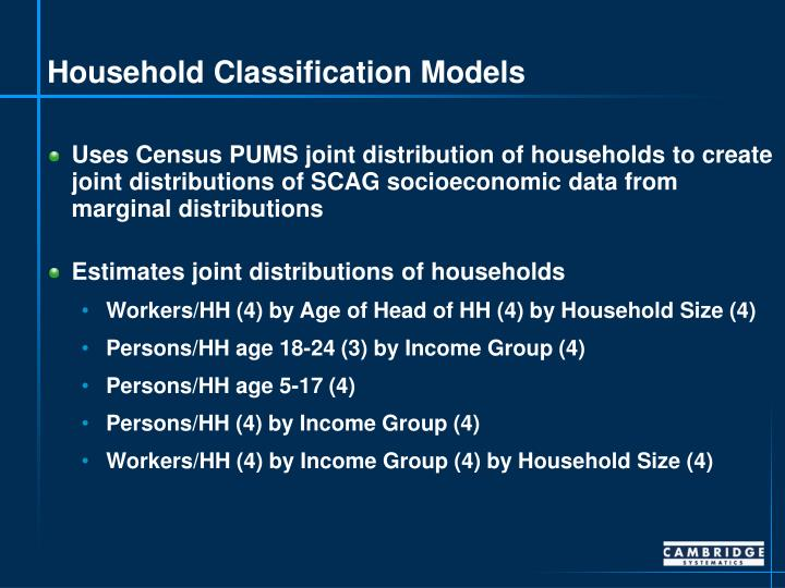 Household classification models