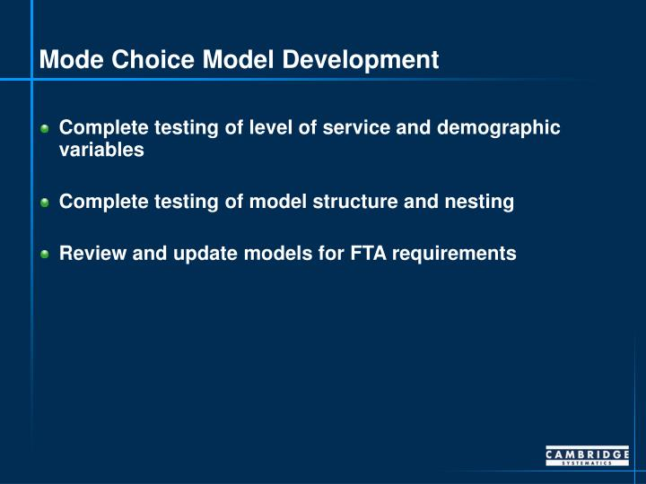 Mode Choice Model Development