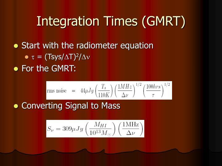 Integration Times (GMRT)