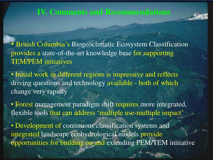 IV. Comments and Recommendations