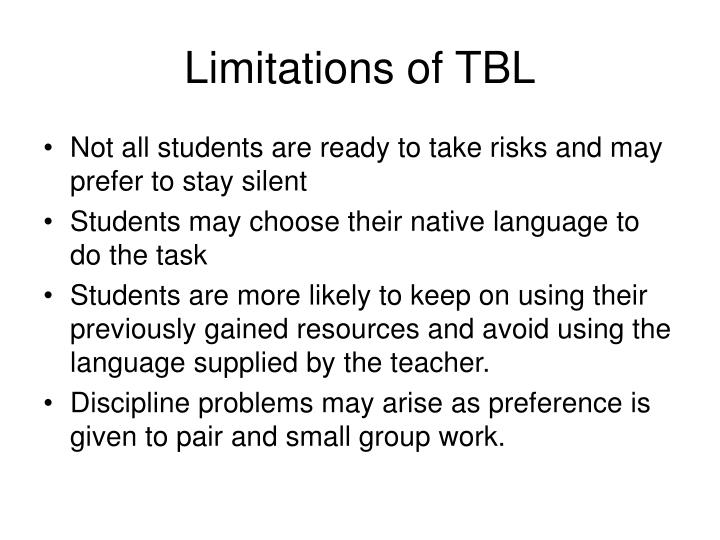 Limitations of TBL