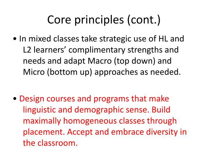 Core principles (cont.)