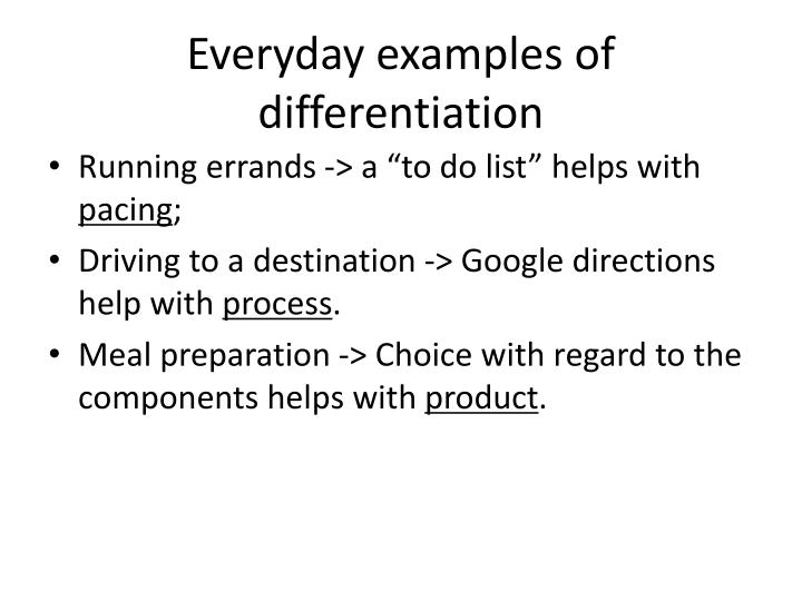 Everyday examples of differentiation
