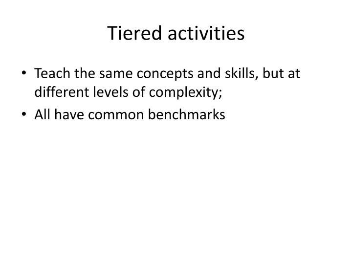 Tiered activities