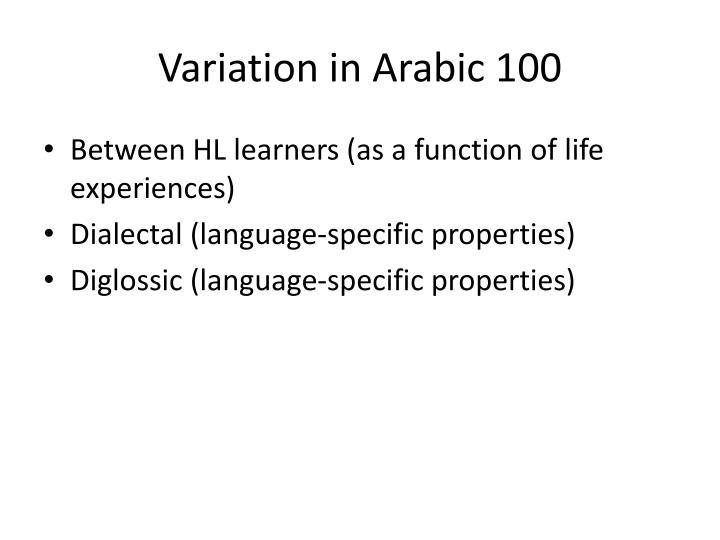 Variation in Arabic 100