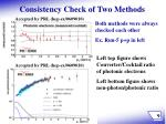 consistency check of two methods