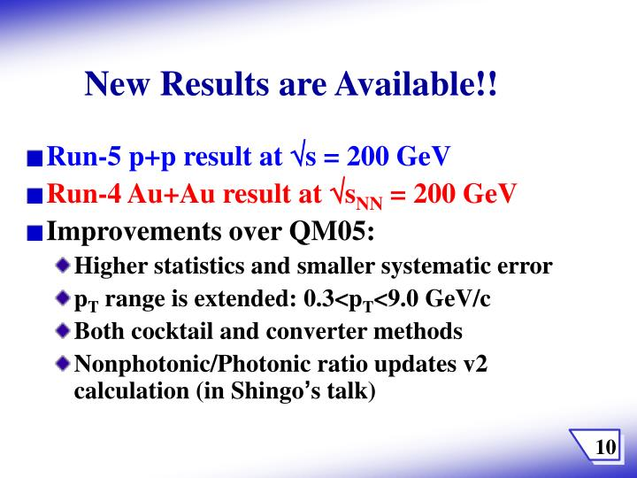 New Results are Available!!